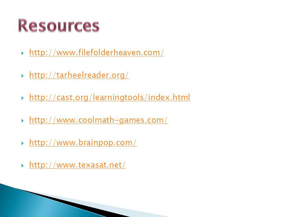 Resources http://www.filefolderheaven.com/ http://tarheelreader.org/