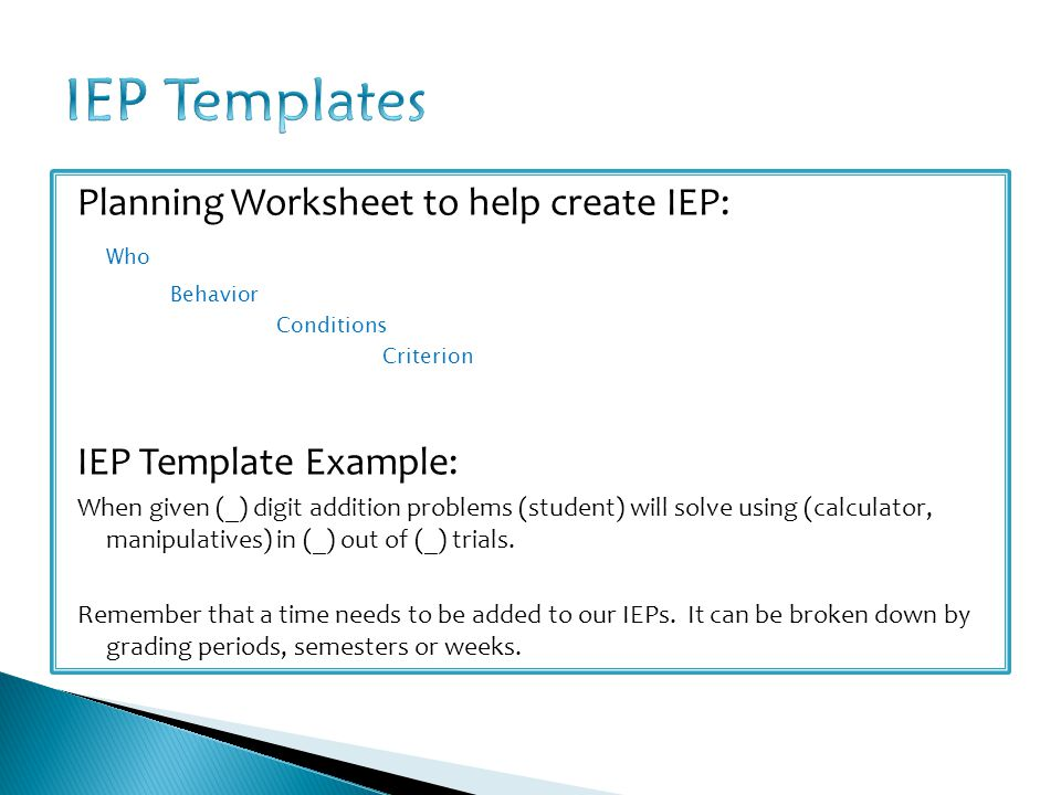 IEP Templates Planning Worksheet to help create IEP: Who