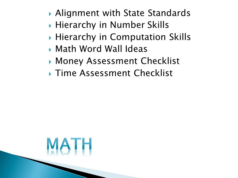 Math Alignment with State Standards Hierarchy in Number Skills