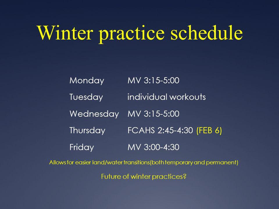 Winter practice schedule