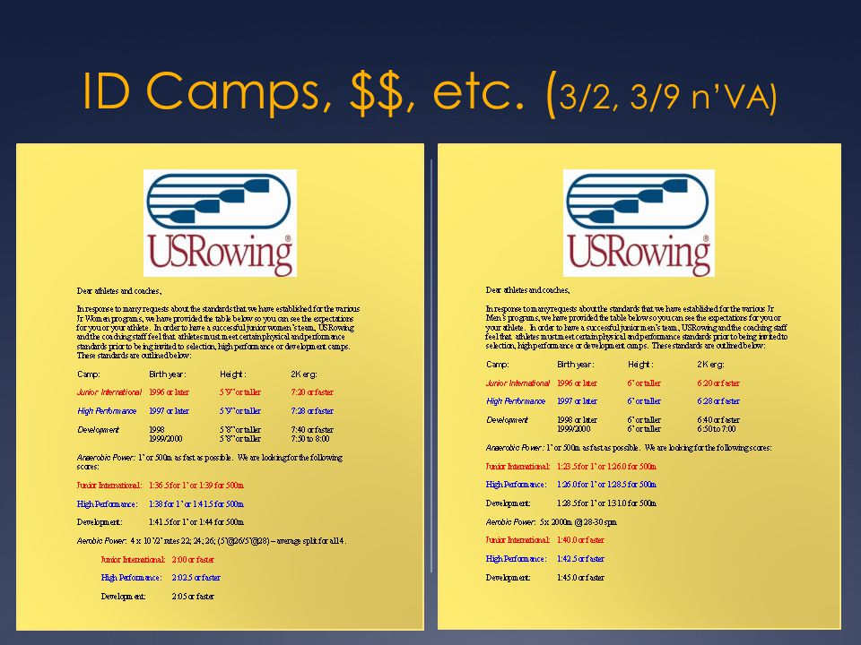 ID Camps, $$, etc. (3/2, 3/9 n'VA)