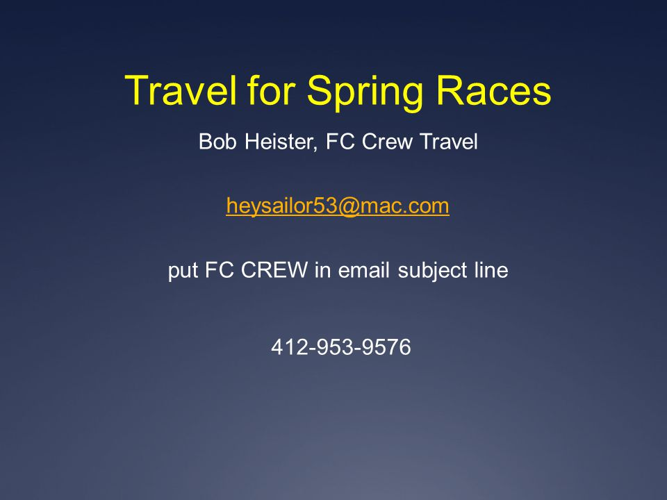 Travel for Spring Races