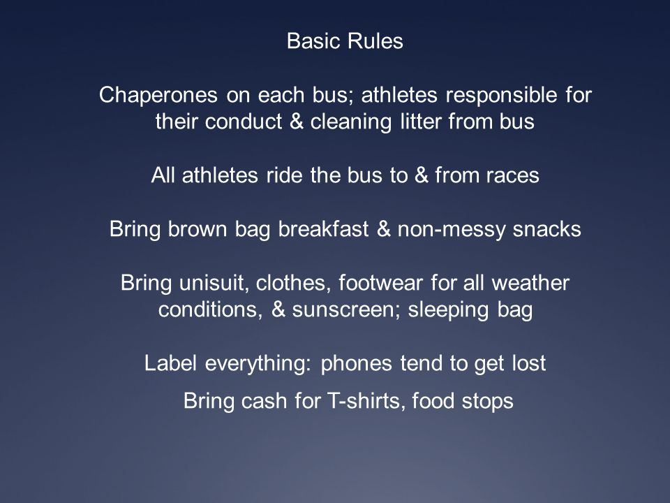 All athletes ride the bus to & from races