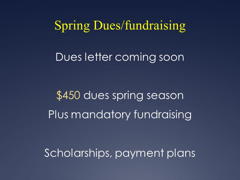 Spring Dues/fundraising