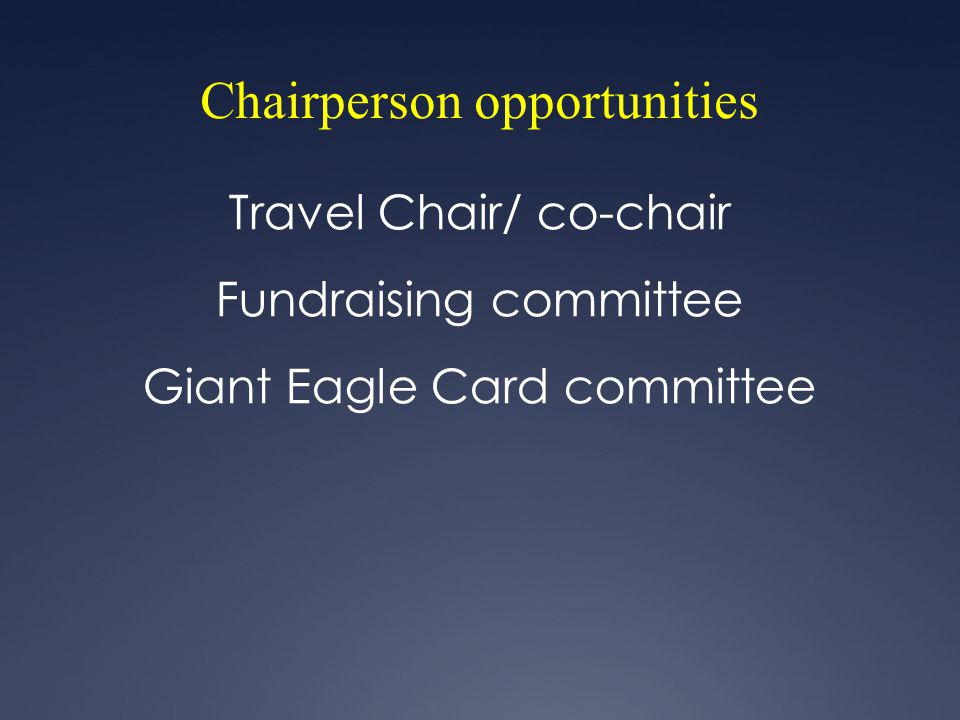 Chairperson opportunities