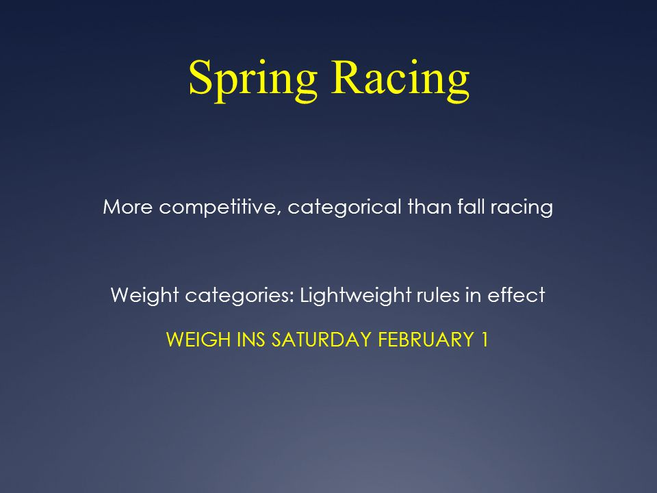 Spring Racing More competitive, categorical than fall racing Weight categories: Lightweight rules in effect WEIGH INS SATURDAY FEBRUARY 1
