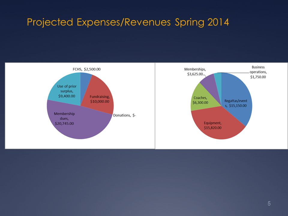 Projected Expenses/Revenues Spring 2014