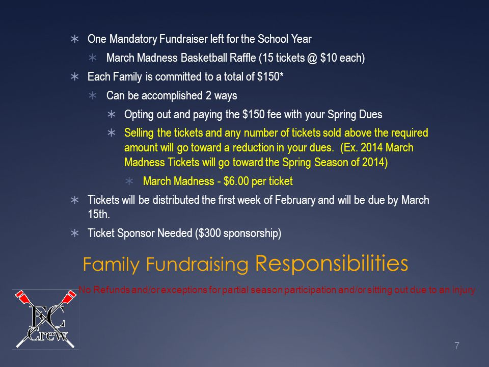 Family Fundraising Responsibilities