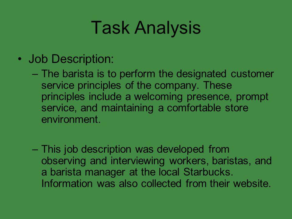 Task Analysis Job Description: