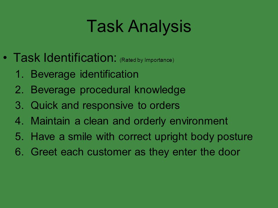 Task Analysis Task Identification: (Rated by Importance)