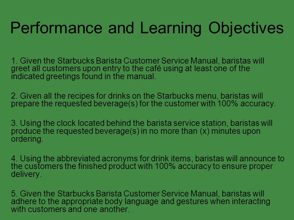 Performance and Learning Objectives