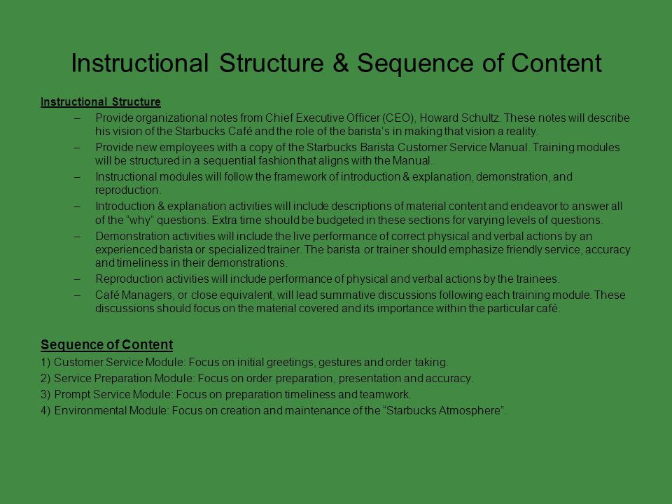 Instructional Structure & Sequence of Content