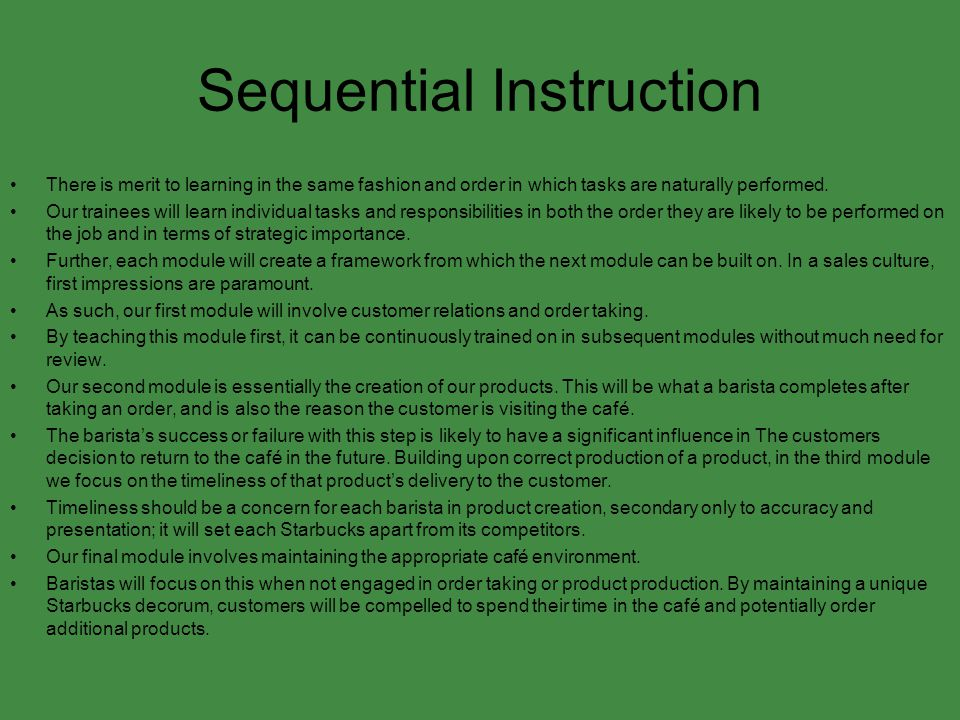 Sequential Instruction