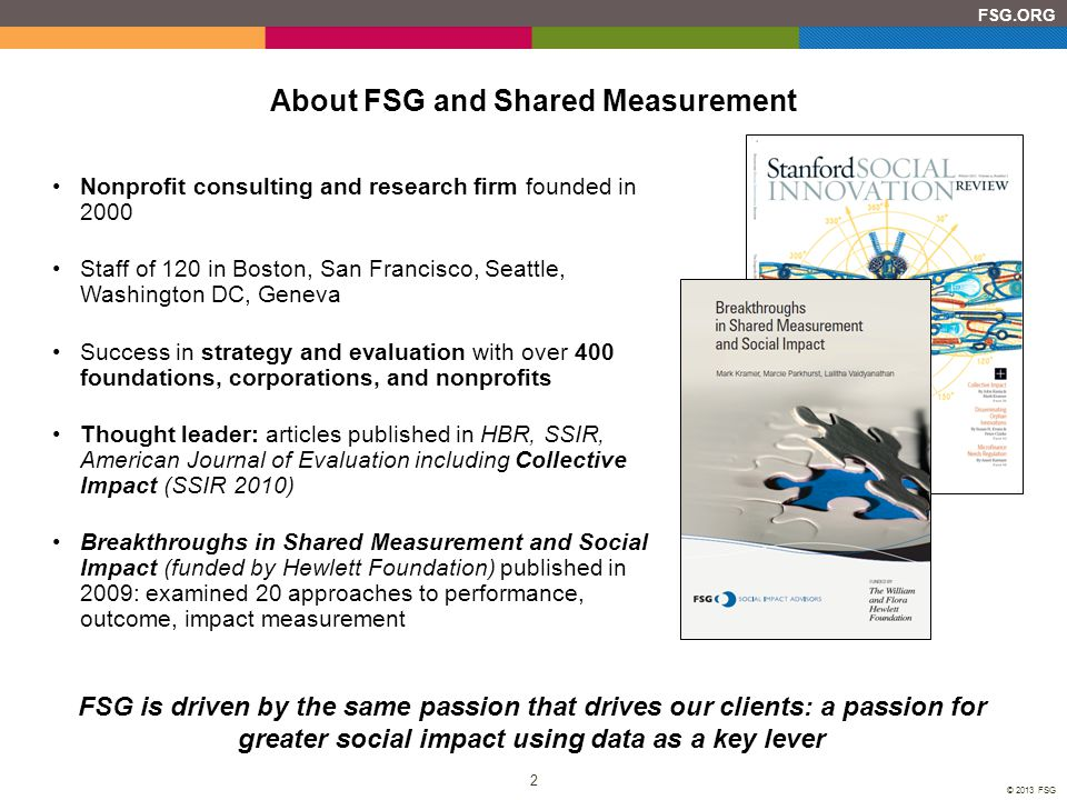 About FSG and Shared Measurement