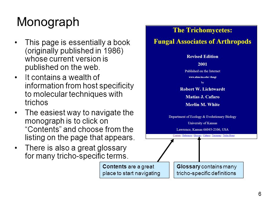 Monograph Contents are a great place to start navigating. Glossary contains many tricho-specific definitions.