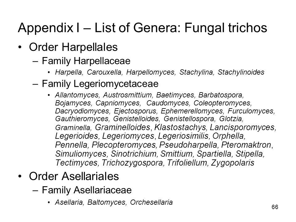 Appendix I – List of Genera: Fungal trichos