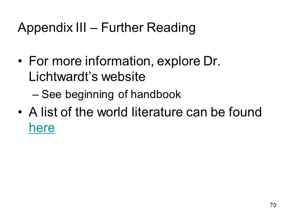 Appendix III – Further Reading