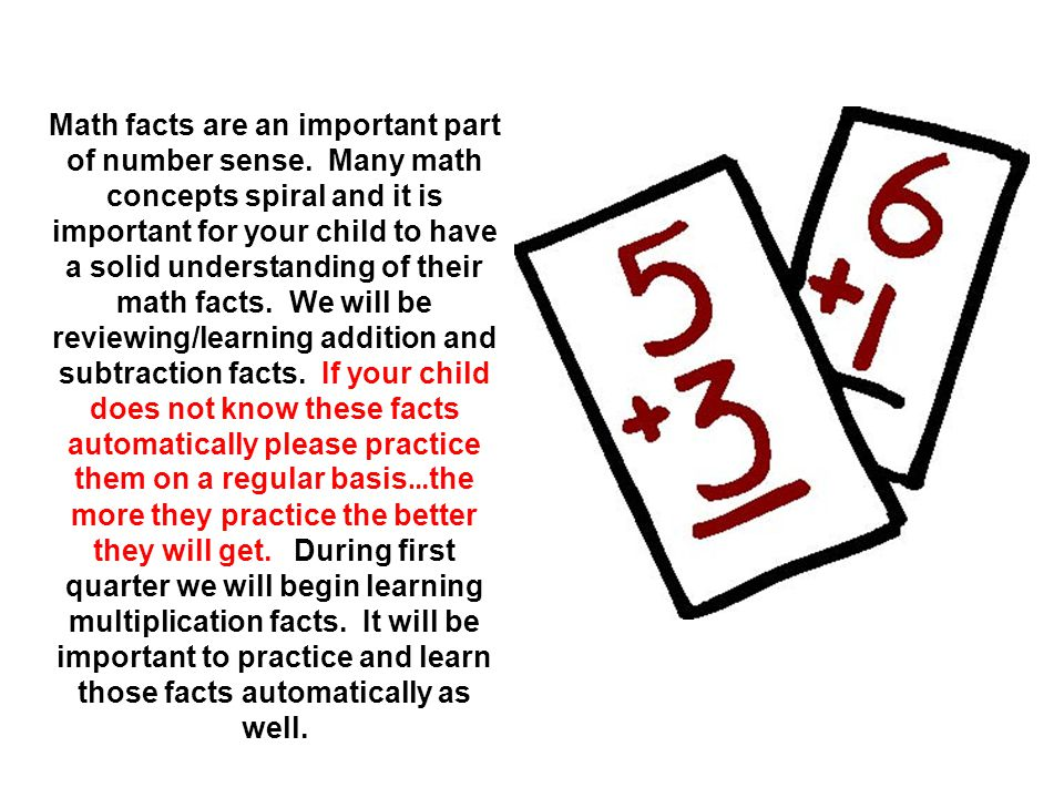 Math facts are an important part of number sense
