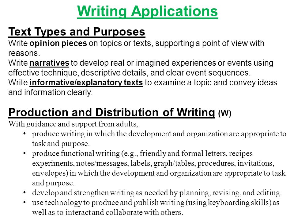 Writing Applications Text Types and Purposes