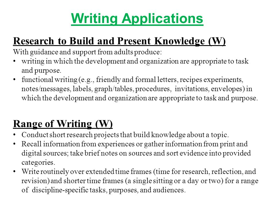 Writing Applications Research to Build and Present Knowledge (W)
