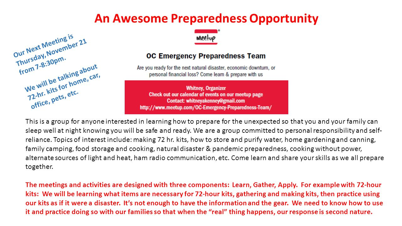 An Awesome Preparedness Opportunity