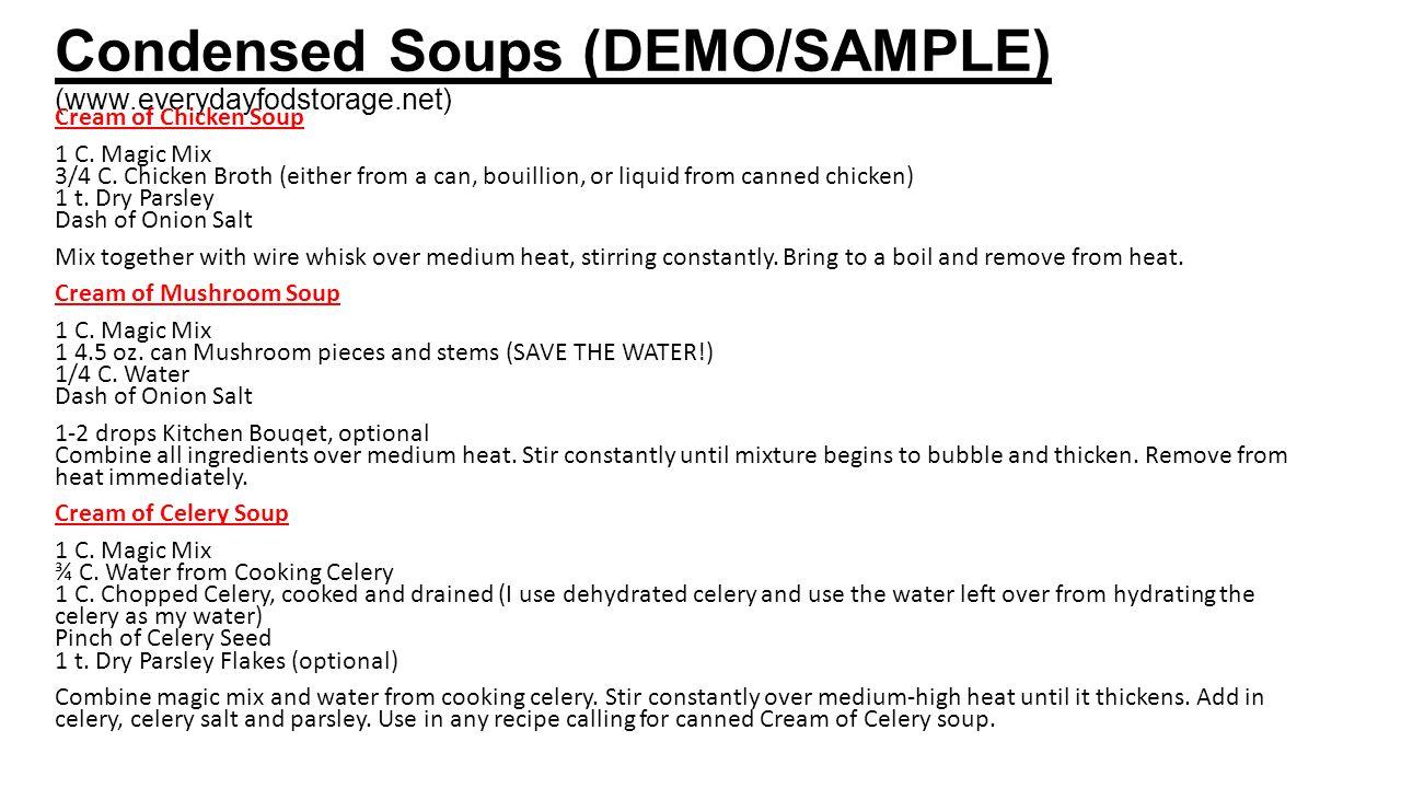 Condensed Soups (DEMO/SAMPLE) (www.everydayfodstorage.net)