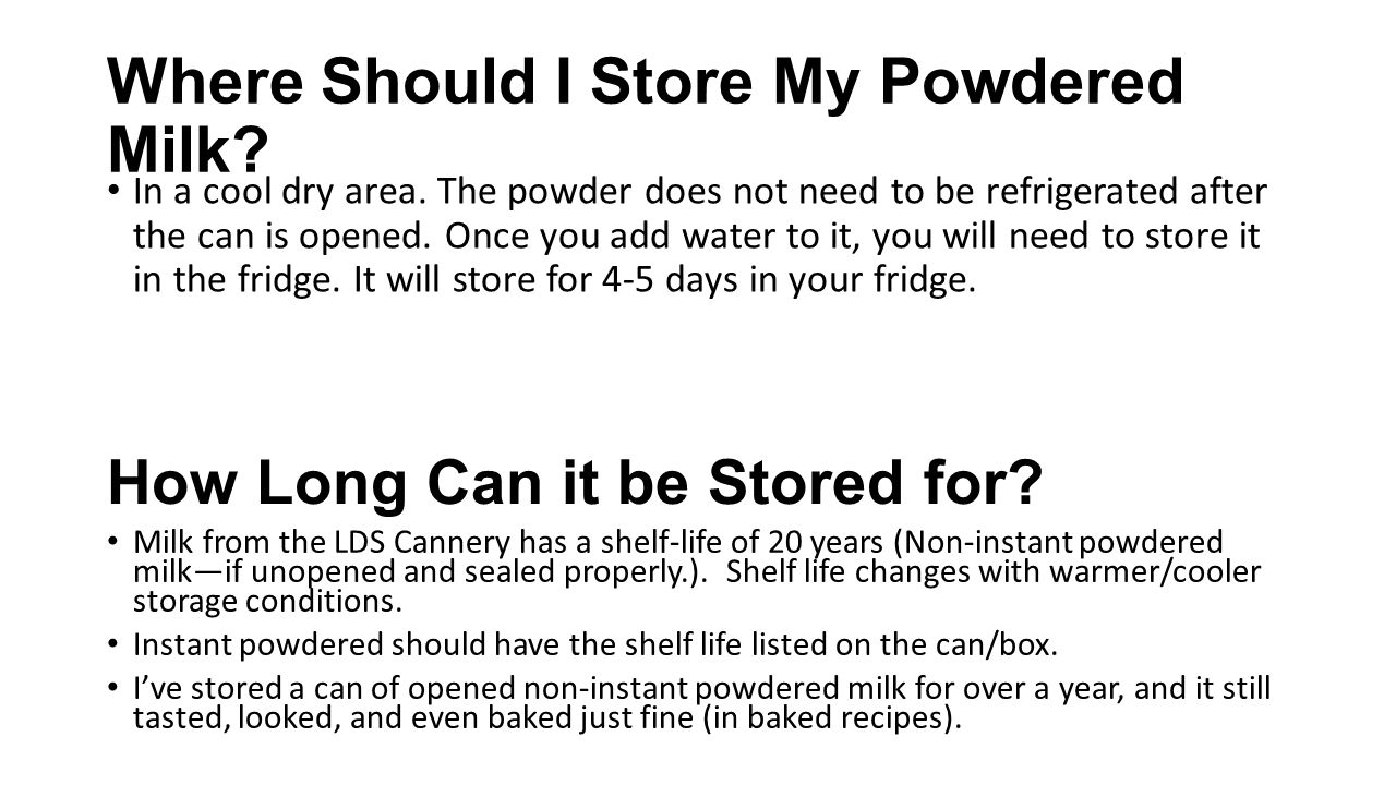 Where Should I Store My Powdered Milk