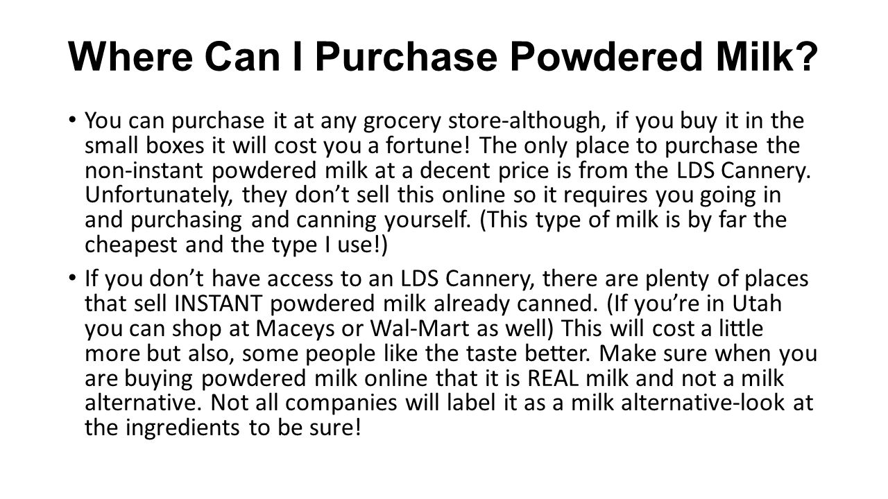 Where Can I Purchase Powdered Milk