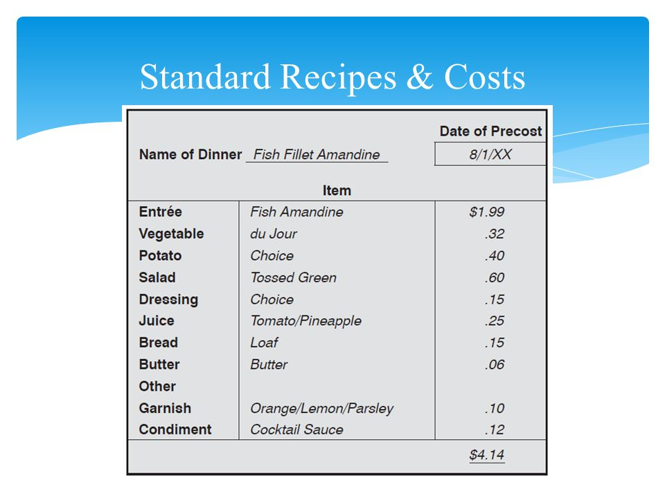 Standard Recipes & Costs