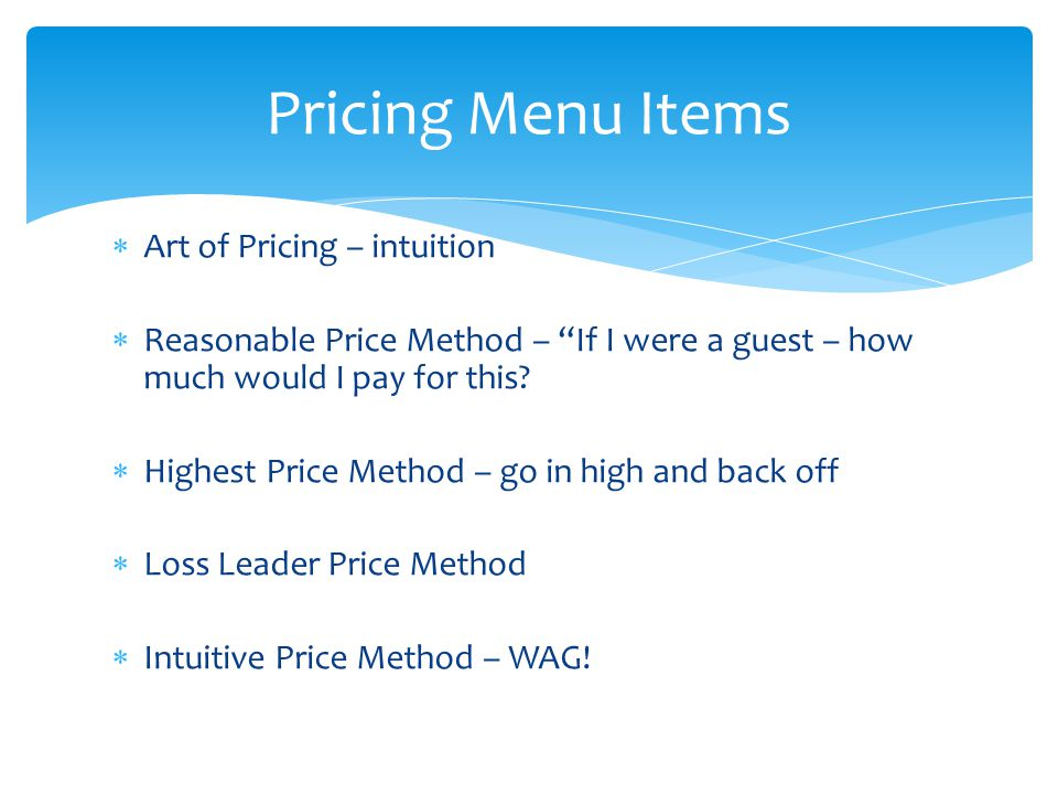 Pricing Menu Items Art of Pricing – intuition