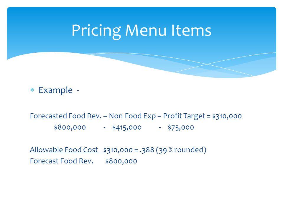 Pricing Menu Items Example -