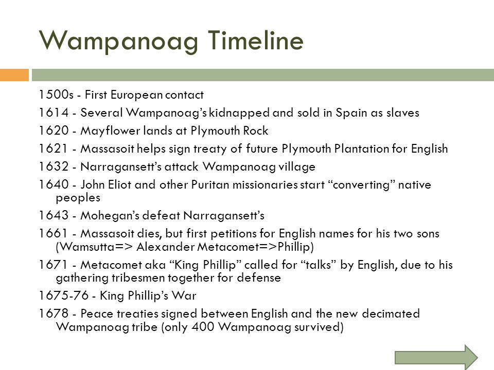 Wampanoag Timeline 1500s - First European contact