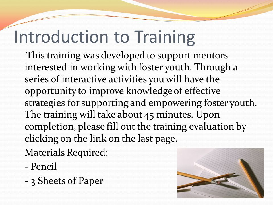 Introduction to Training