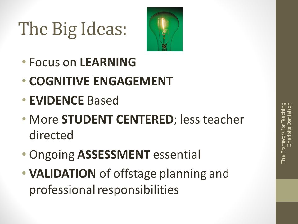 The Big Ideas: Focus on LEARNING COGNITIVE ENGAGEMENT EVIDENCE Based