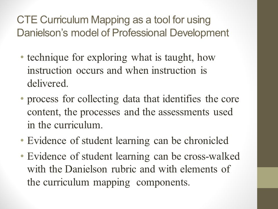 CTE Curriculum Mapping as a tool for using Danielson's model of Professional Development