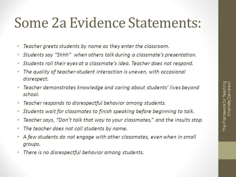 Some 2a Evidence Statements: