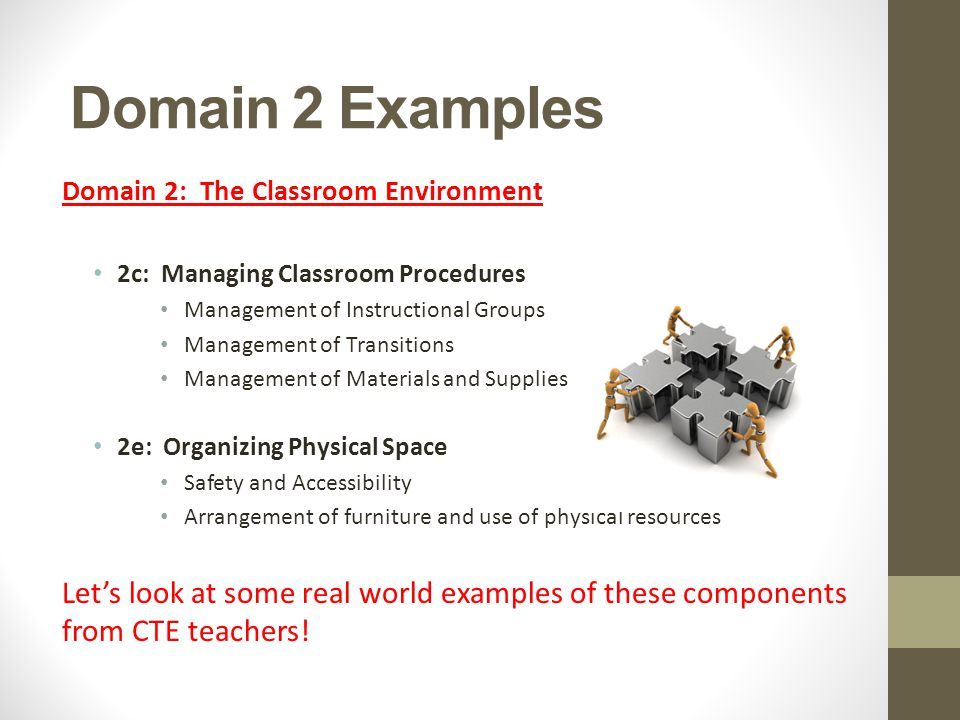 Domain 2 Examples Domain 2: The Classroom Environment. 2c: Managing Classroom Procedures. Management of Instructional Groups.