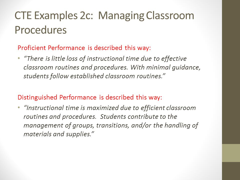CTE Examples 2c: Managing Classroom Procedures