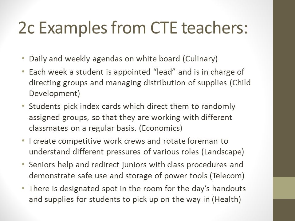 2c Examples from CTE teachers: