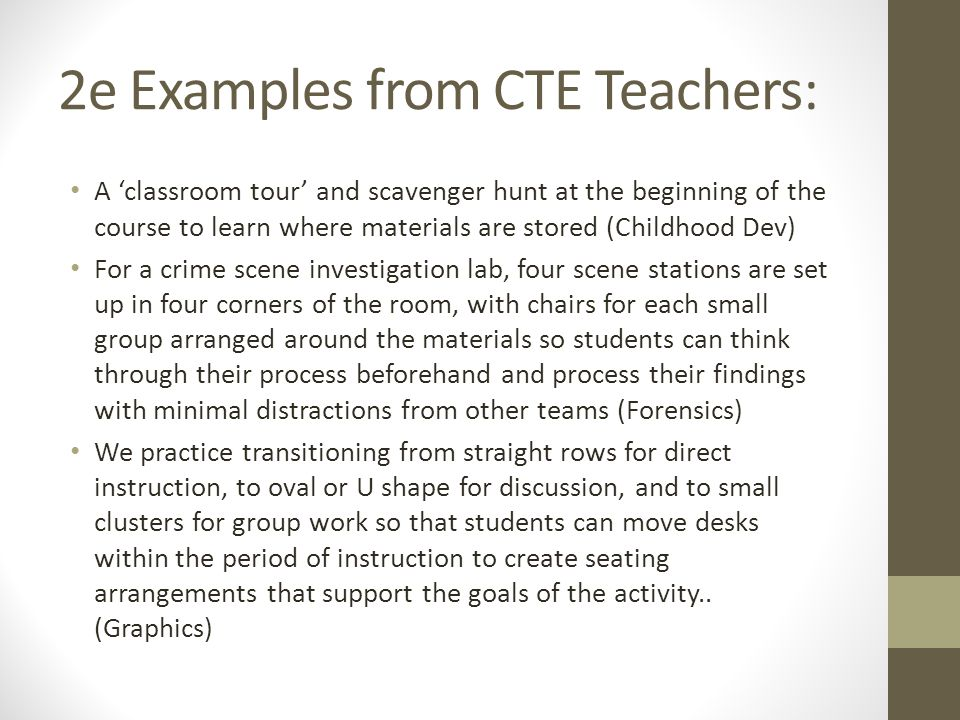 2e Examples from CTE Teachers: