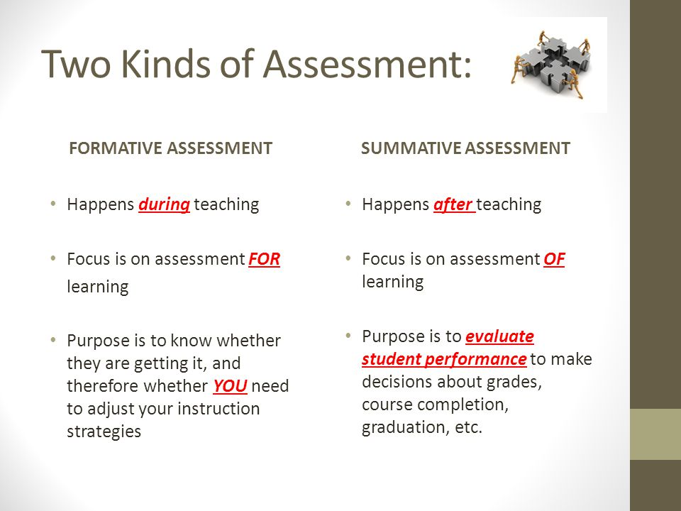 Two Kinds of Assessment: