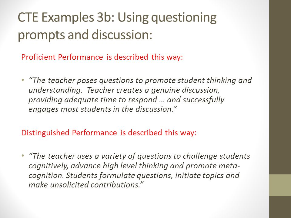 CTE Examples 3b: Using questioning prompts and discussion: