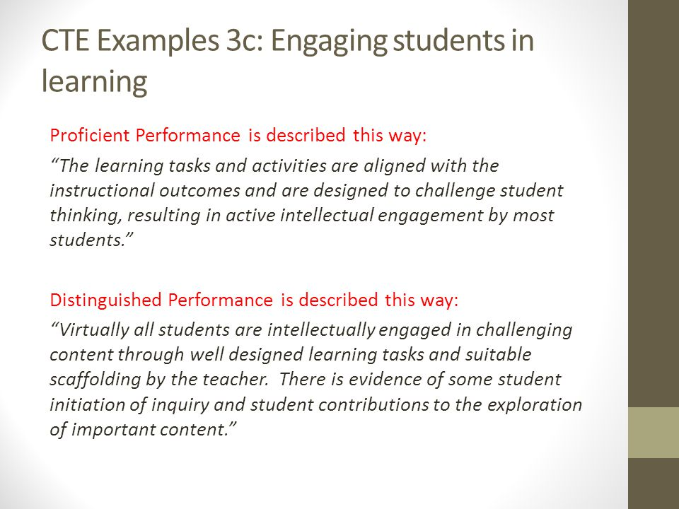 CTE Examples 3c: Engaging students in learning