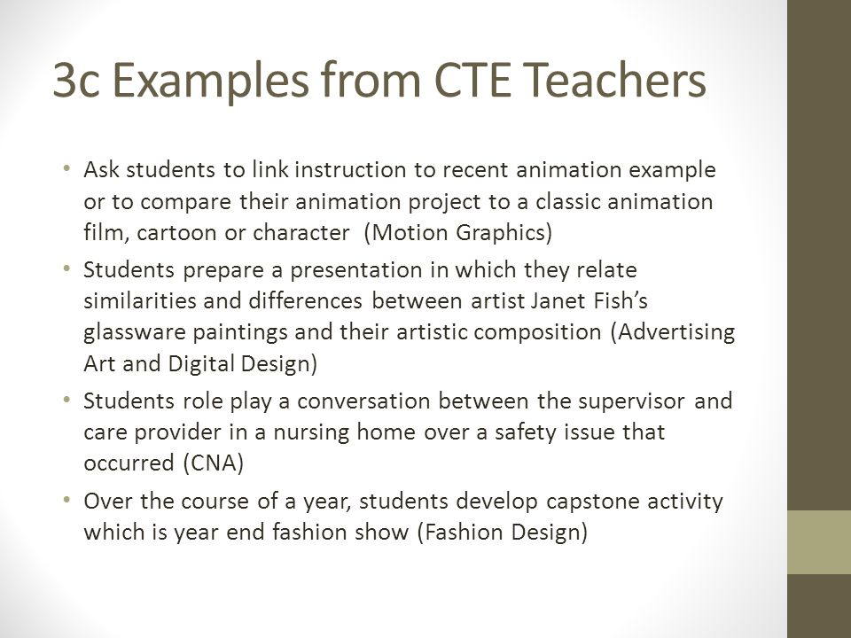 3c Examples from CTE Teachers