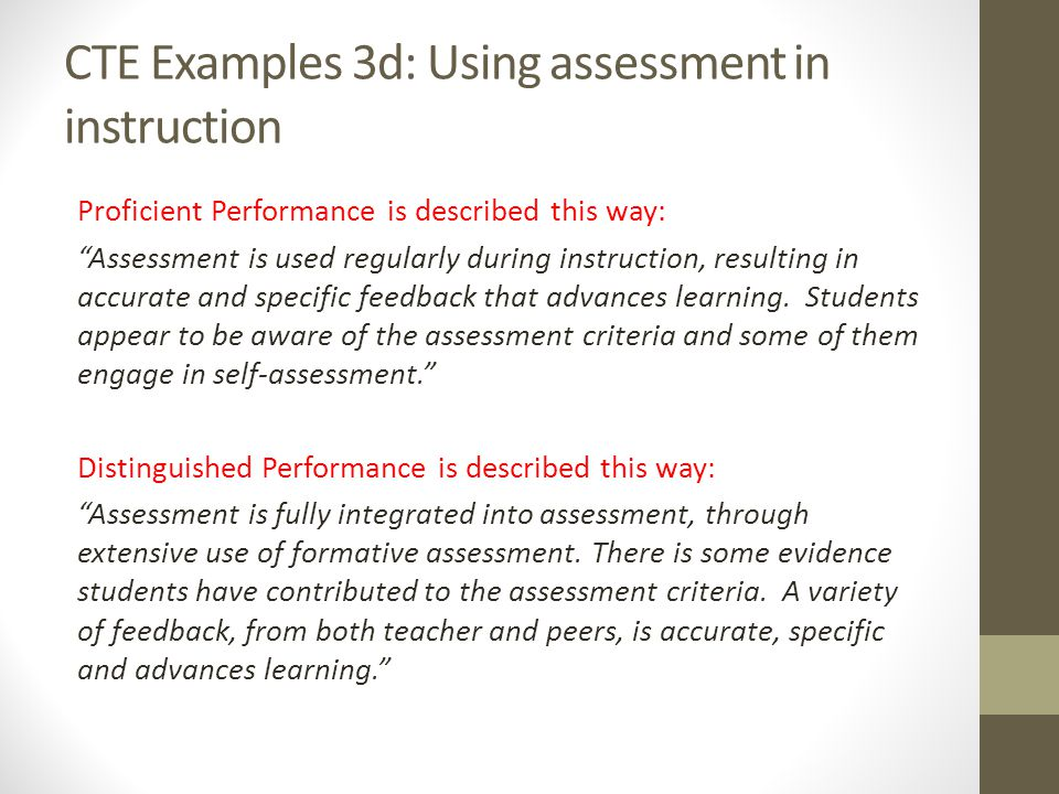 CTE Examples 3d: Using assessment in instruction