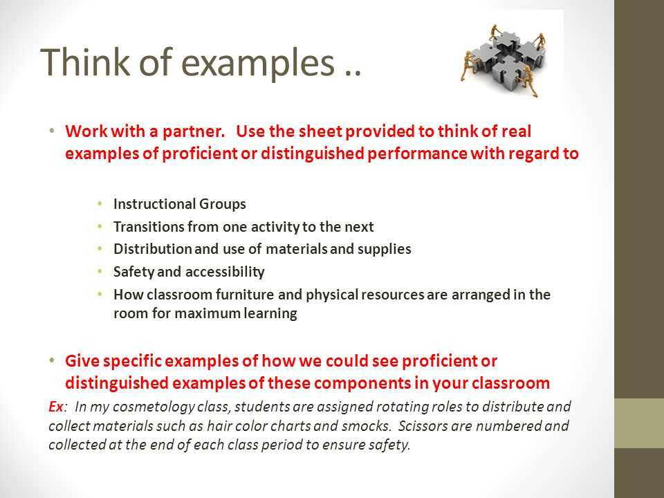 Think of examples ..