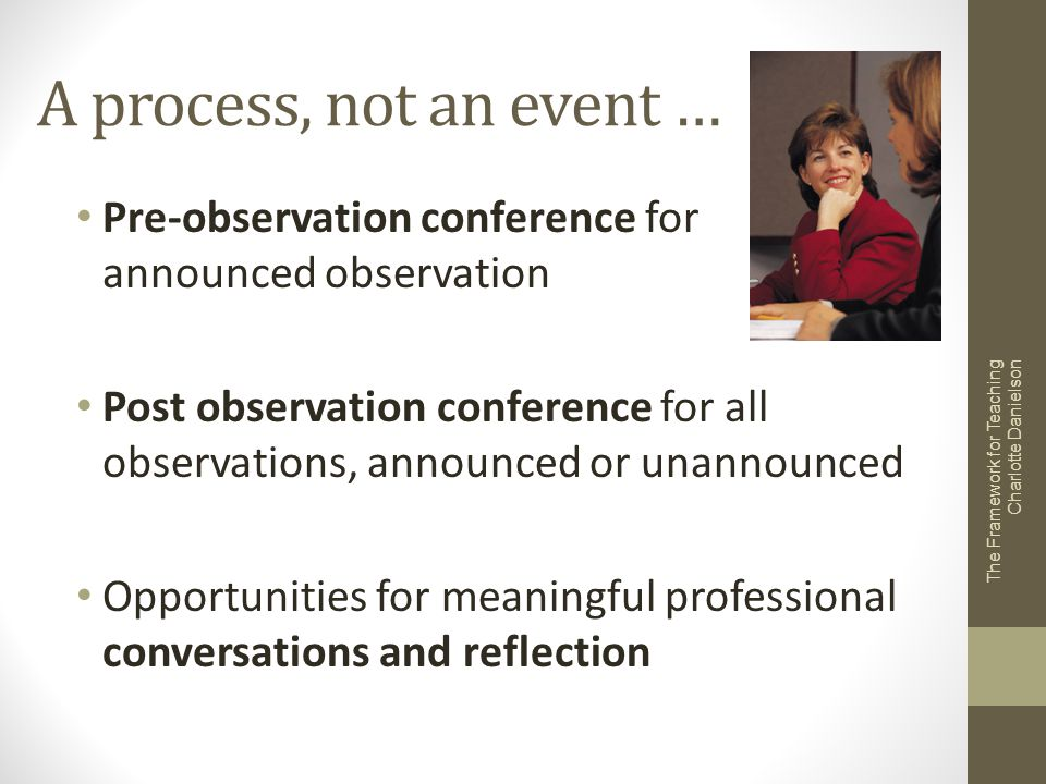 A process, not an event … Pre-observation conference for announced observation.