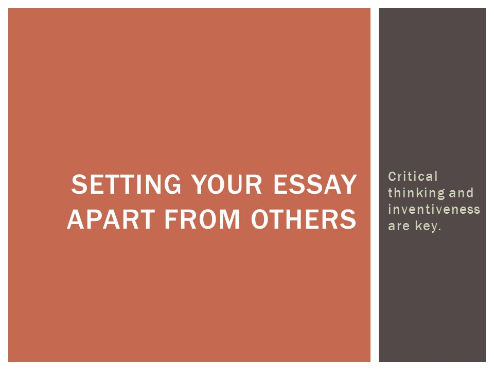 Setting your essay apart from others