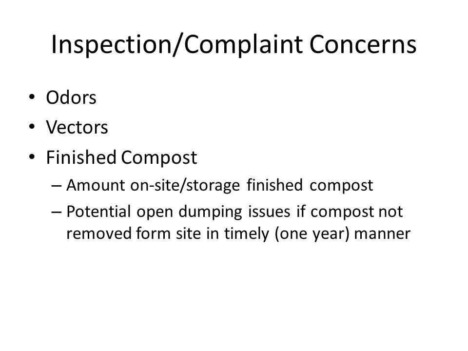 Inspection/Complaint Concerns