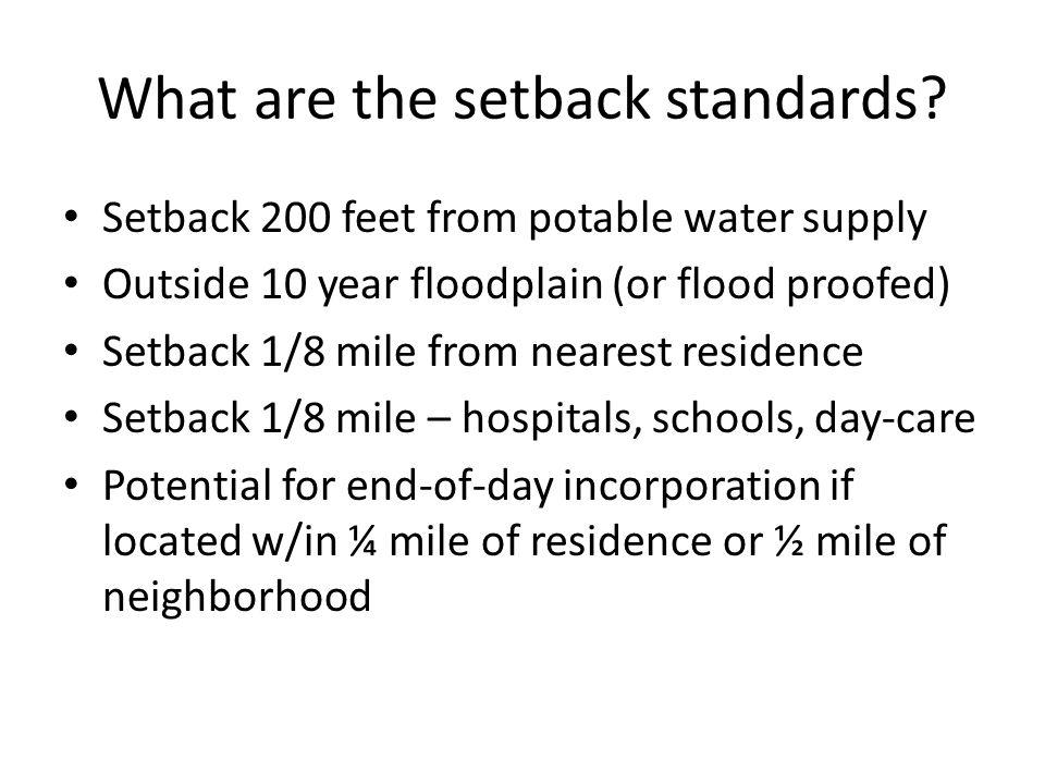 What are the setback standards